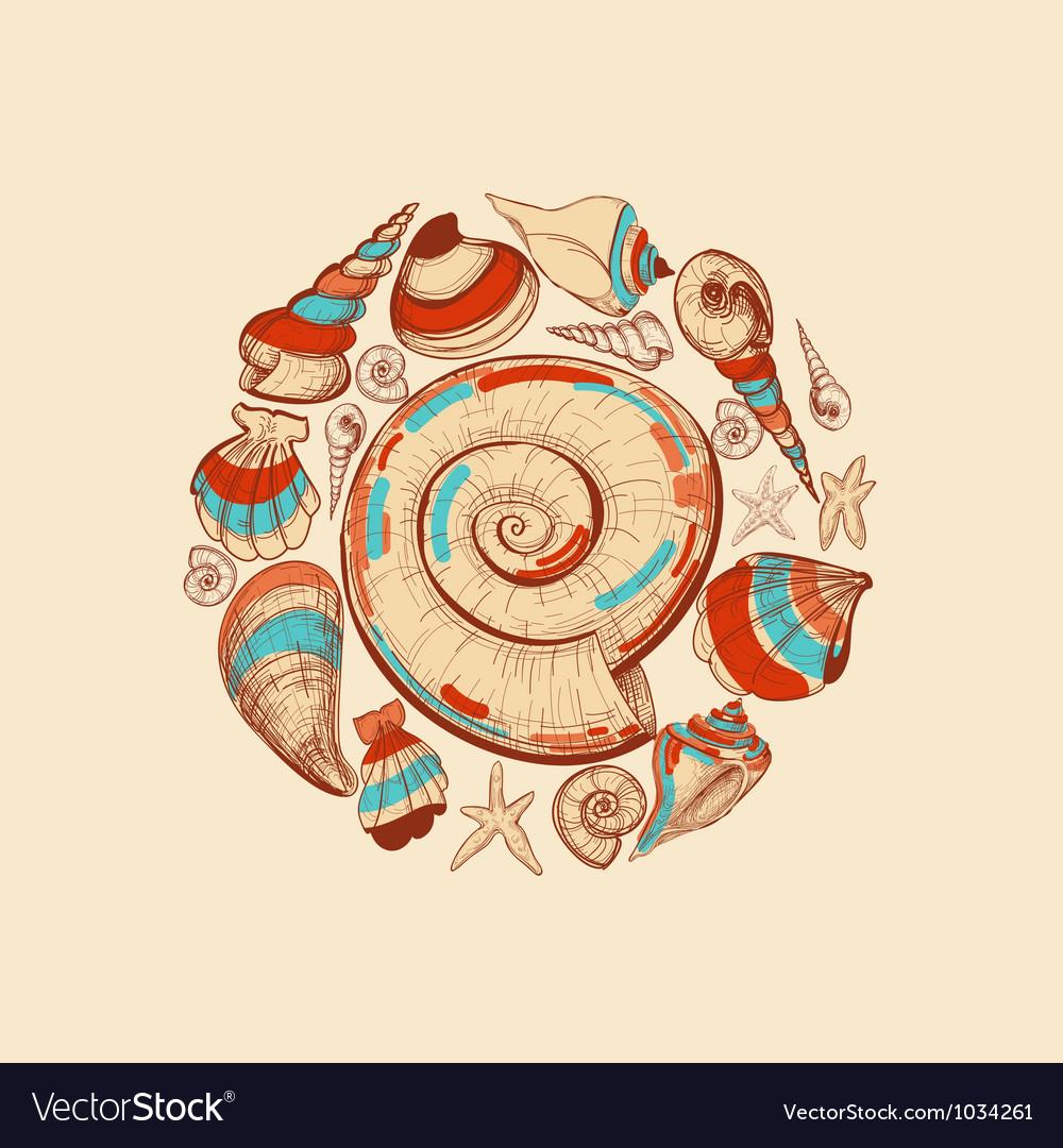 Shells round decoration vector   Price: 1 Credit (USD $1)