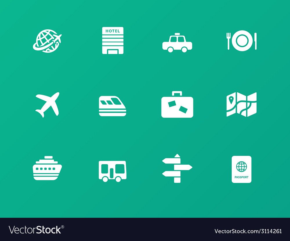 Travel icons on green background vector   Price: 1 Credit (USD $1)