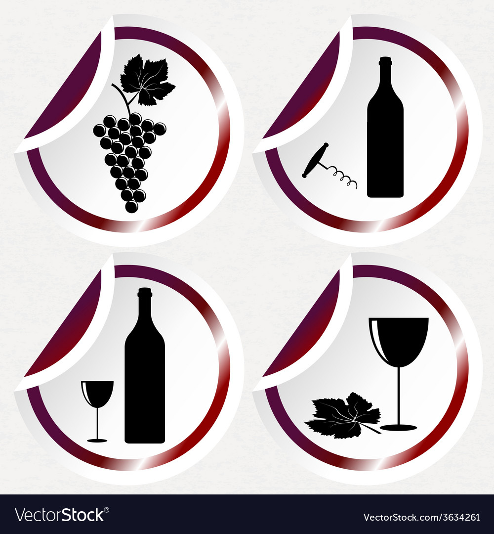 Vintage wine icons on round stickers with curved vector | Price: 1 Credit (USD $1)