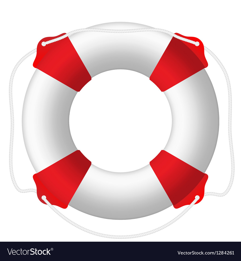 White lifebuoy red stripes rope isolated vector | Price: 1 Credit (USD $1)