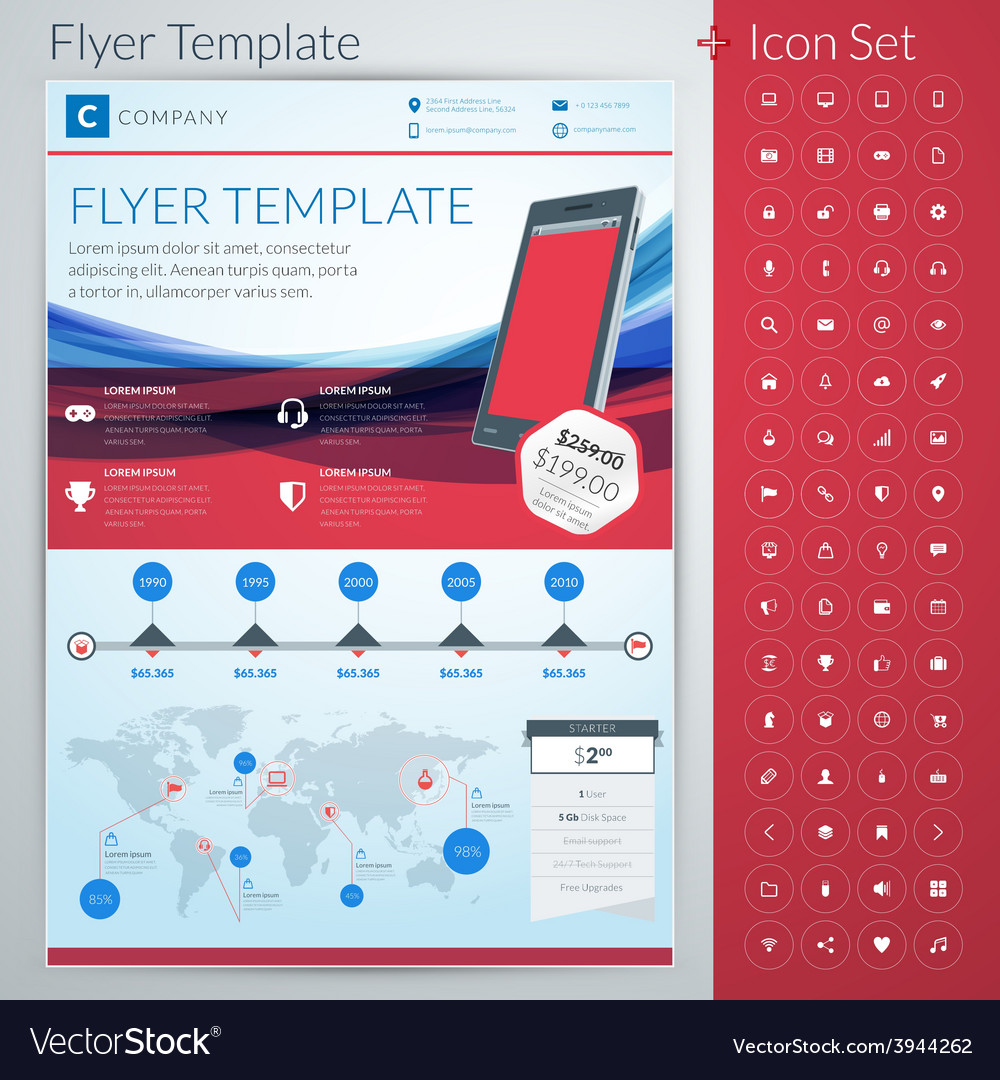 Abstract business flyer or poster template with vector | Price: 1 Credit (USD $1)