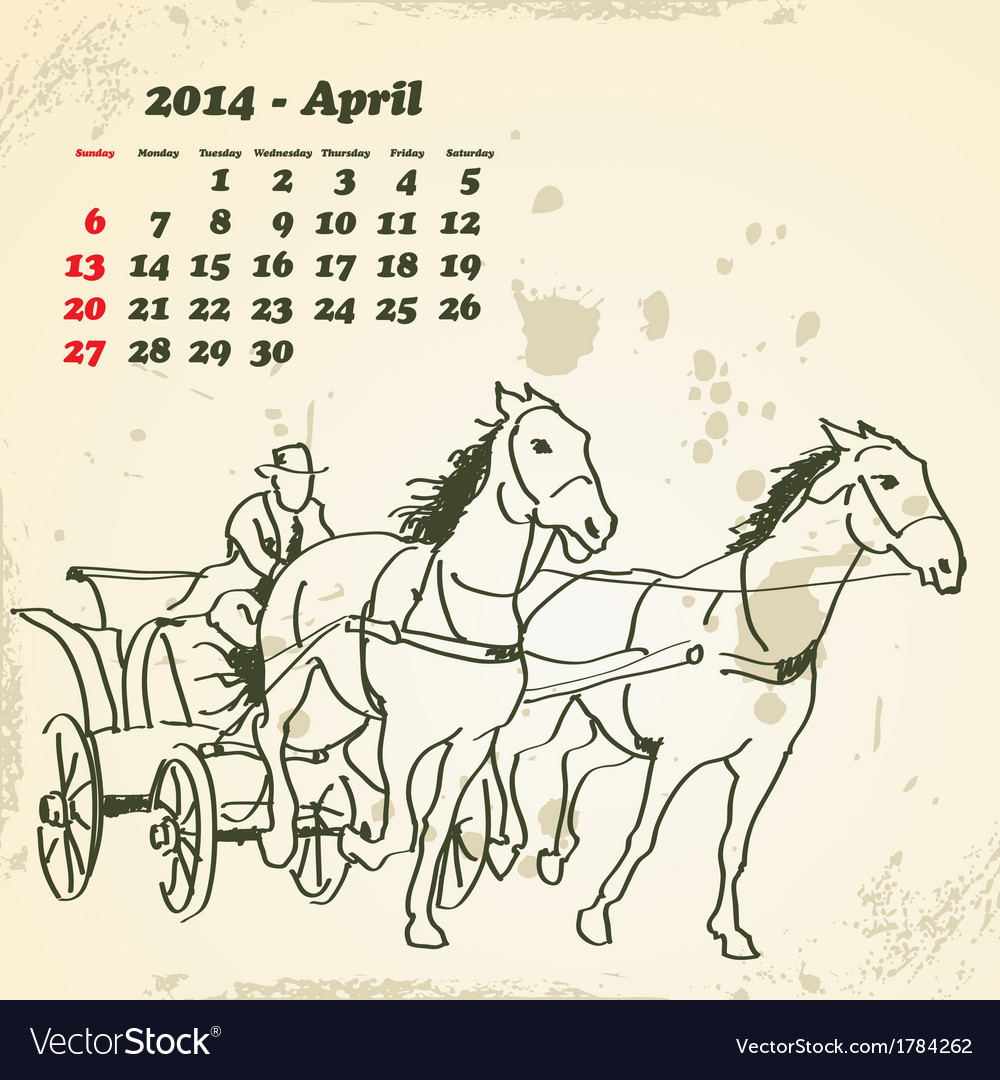 April 2014 hand drawn horse calendar vector | Price: 1 Credit (USD $1)