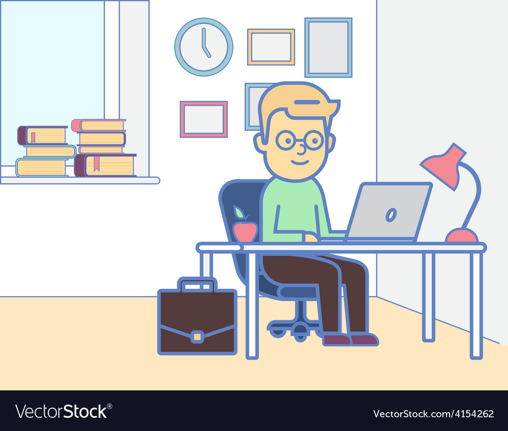 Boy with laptop vector | Price: 1 Credit (USD $1)