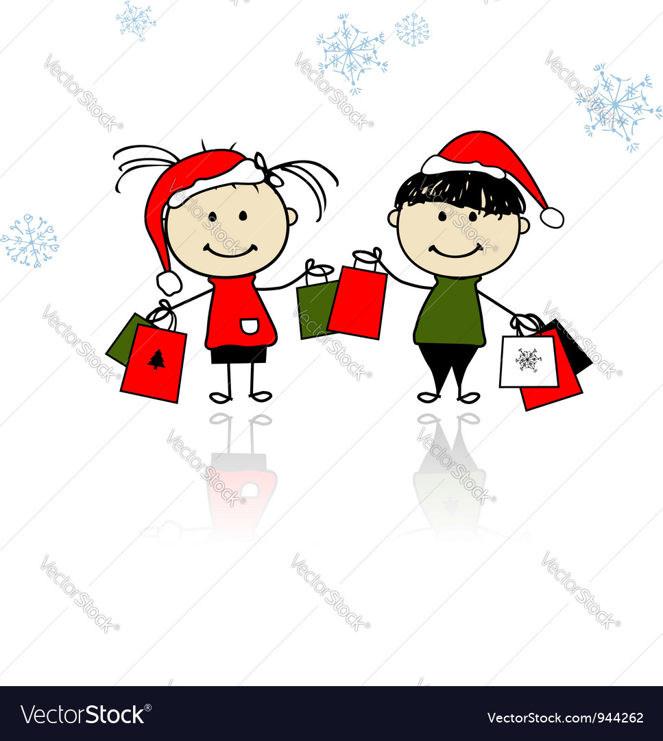 Christmas gifts children with shopping bags vector | Price: 1 Credit (USD $1)
