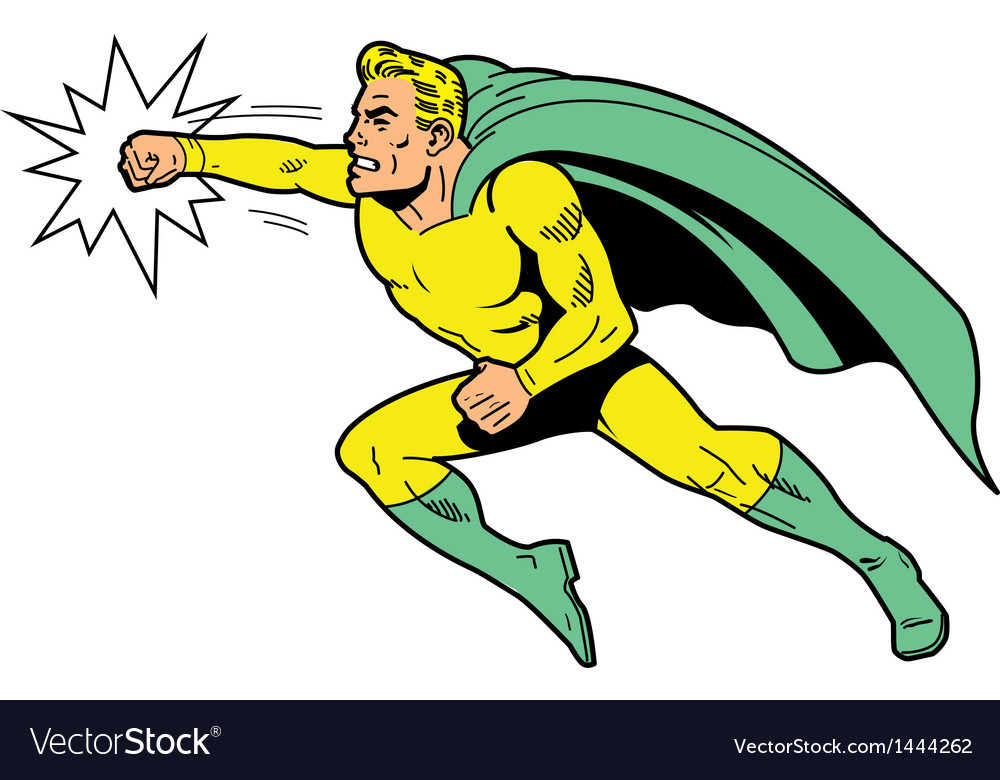 Classic superhero throwing a punch vector | Price: 1 Credit (USD $1)