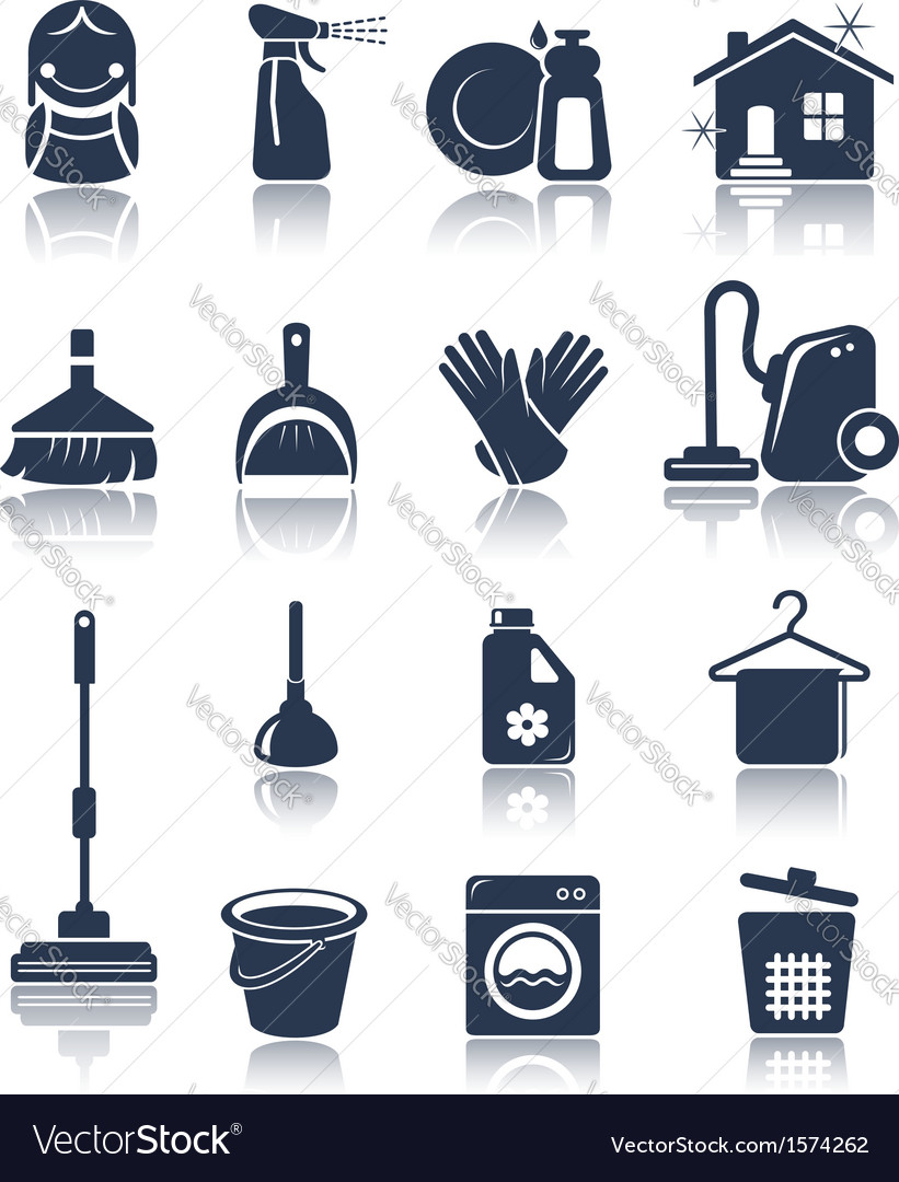Cleaning blue icons vector | Price: 1 Credit (USD $1)