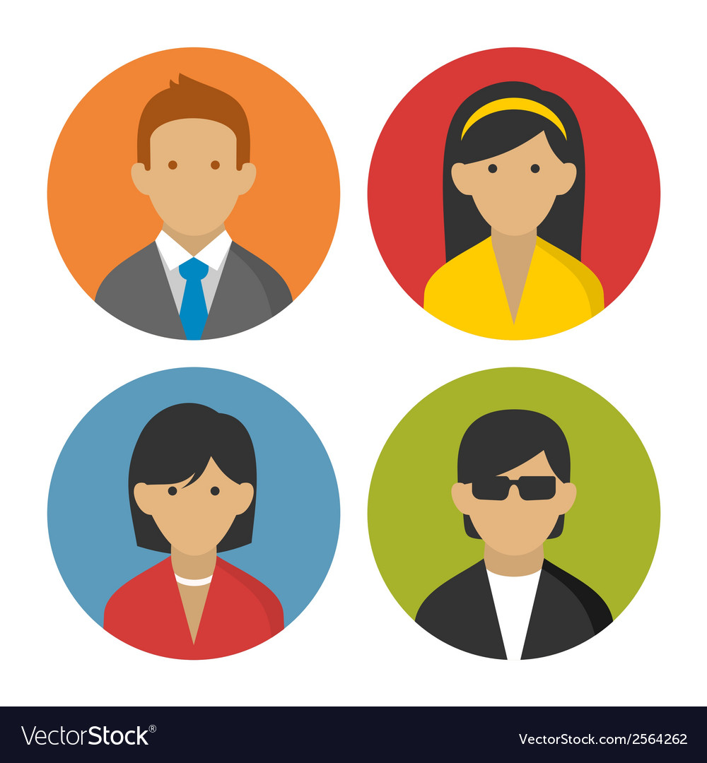 Colorful peoples userpics icons set in flat style vector | Price: 1 Credit (USD $1)