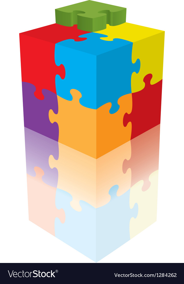 Cube puzzle  3d with a reflection vector | Price: 1 Credit (USD $1)