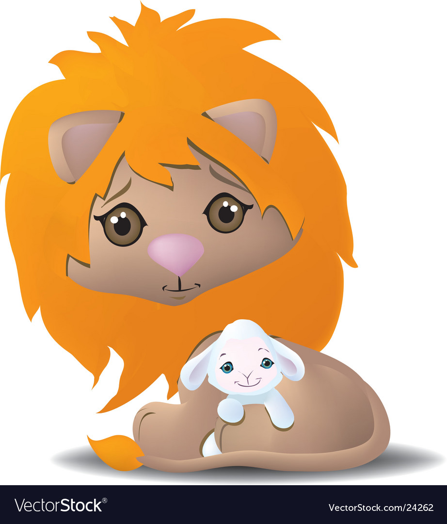 Cute lion and lamb vector | Price: 1 Credit (USD $1)