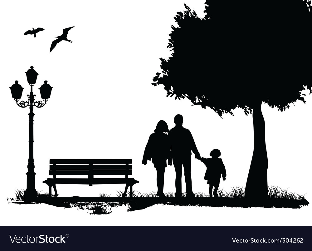 Family in the city park vector | Price: 1 Credit (USD $1)