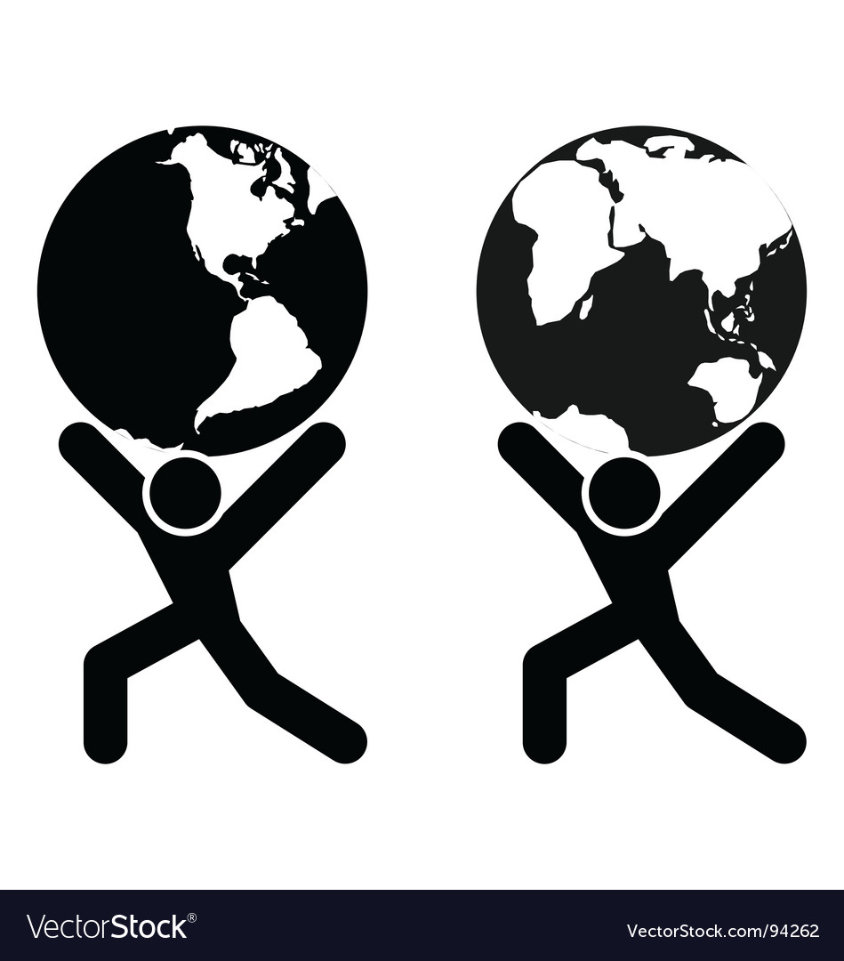Globe holding man vector | Price: 1 Credit (USD $1)
