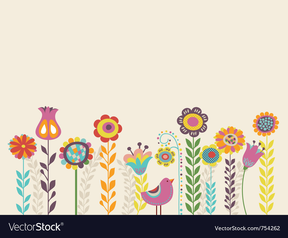 Greeting card with flowers vector | Price: 1 Credit (USD $1)