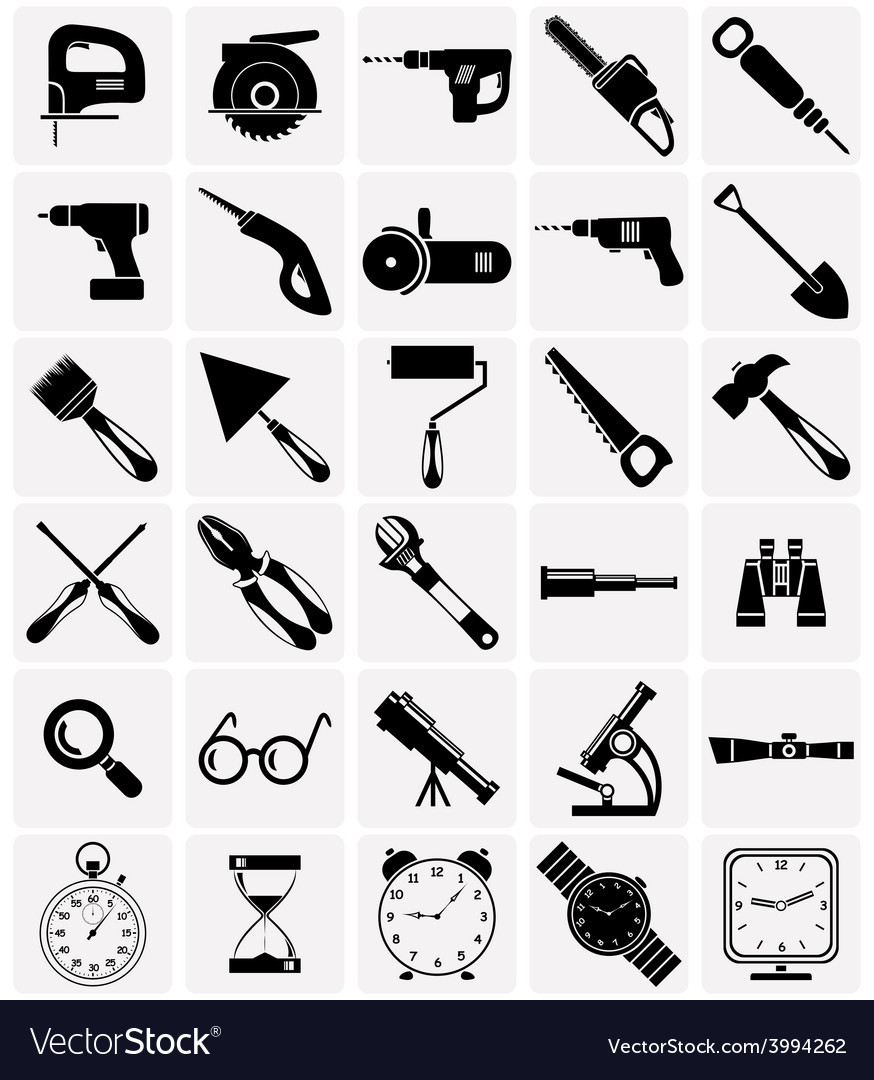 Icons of tools and devices vector | Price: 1 Credit (USD $1)