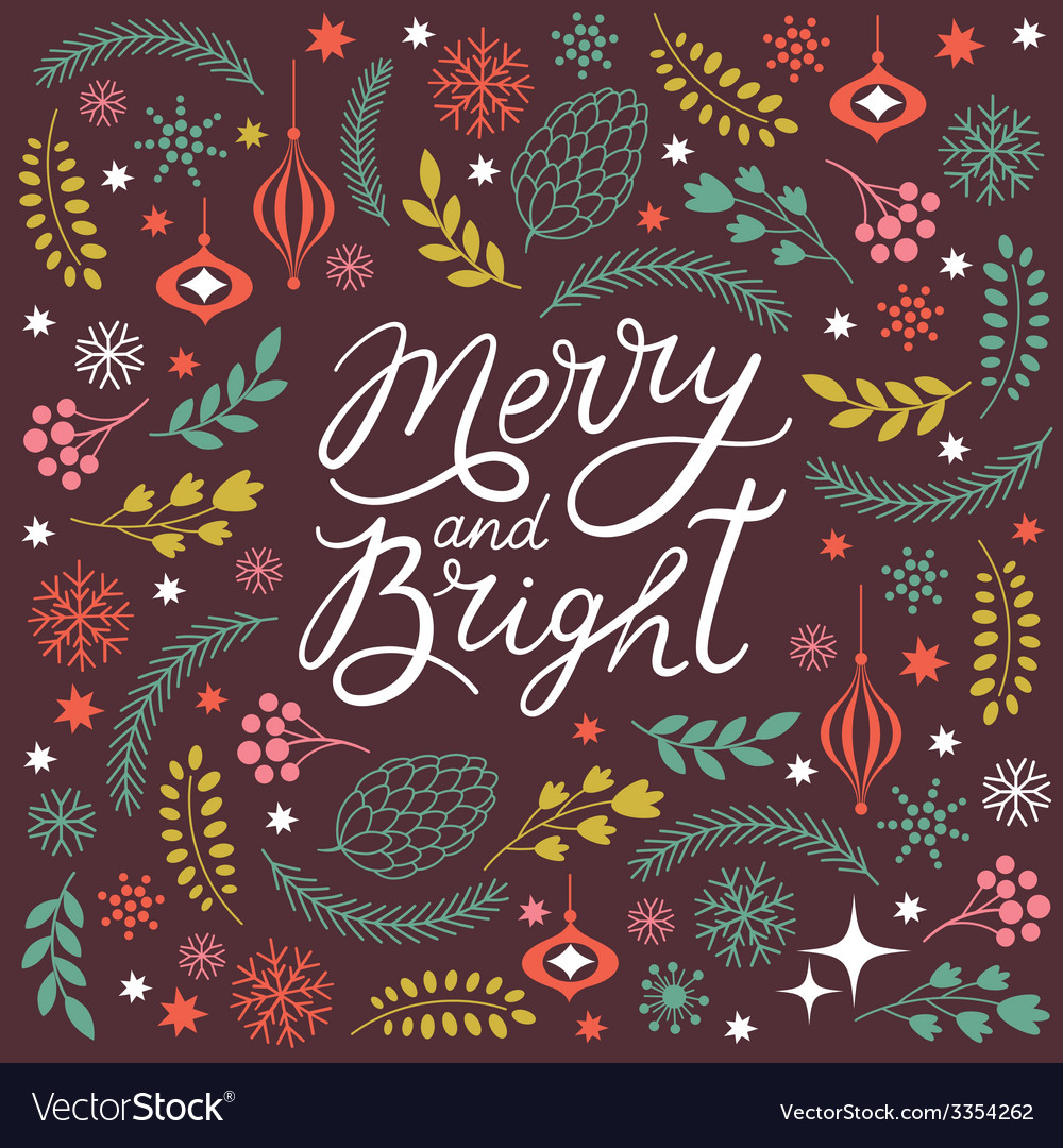 Merry and bright lettering vector | Price: 1 Credit (USD $1)