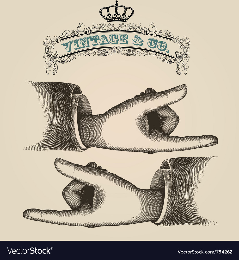 Pointing fingers retro vector | Price: 1 Credit (USD $1)
