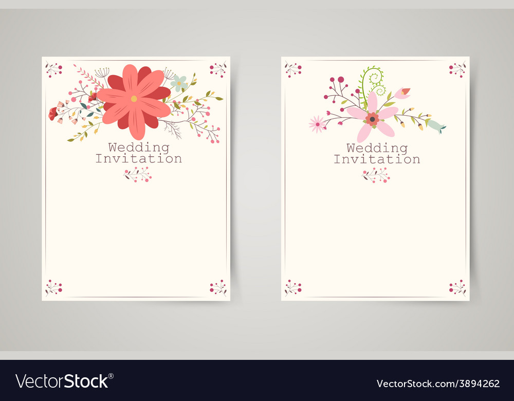 Retro beautiful flower invitation banners vector | Price: 3 Credit (USD $3)