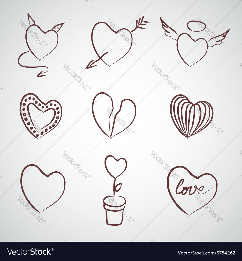 Set of hand drawn hearts vector | Price: 1 Credit (USD $1)