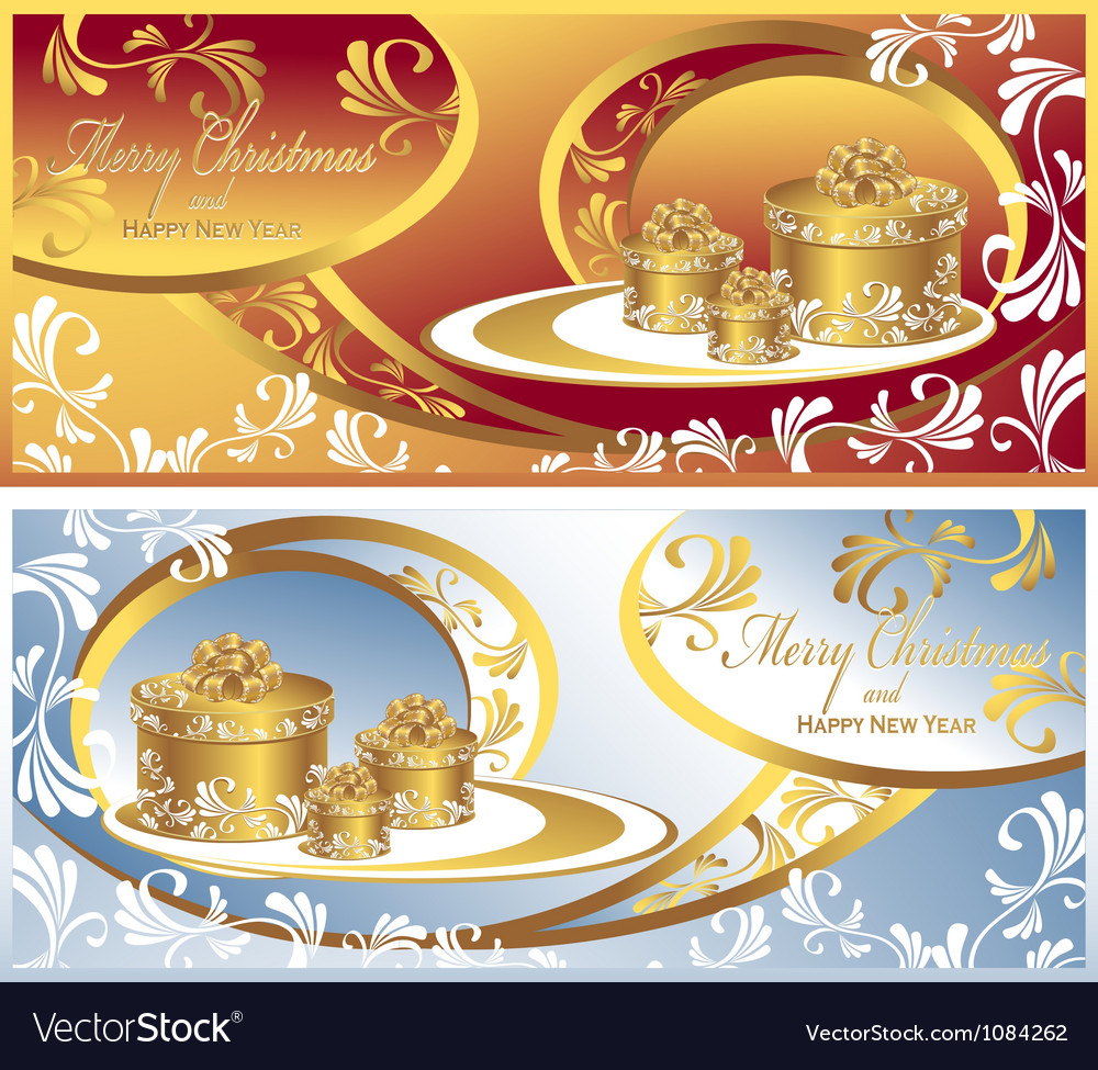 Set post cards with gifts for christmas and new ye vector | Price: 1 Credit (USD $1)