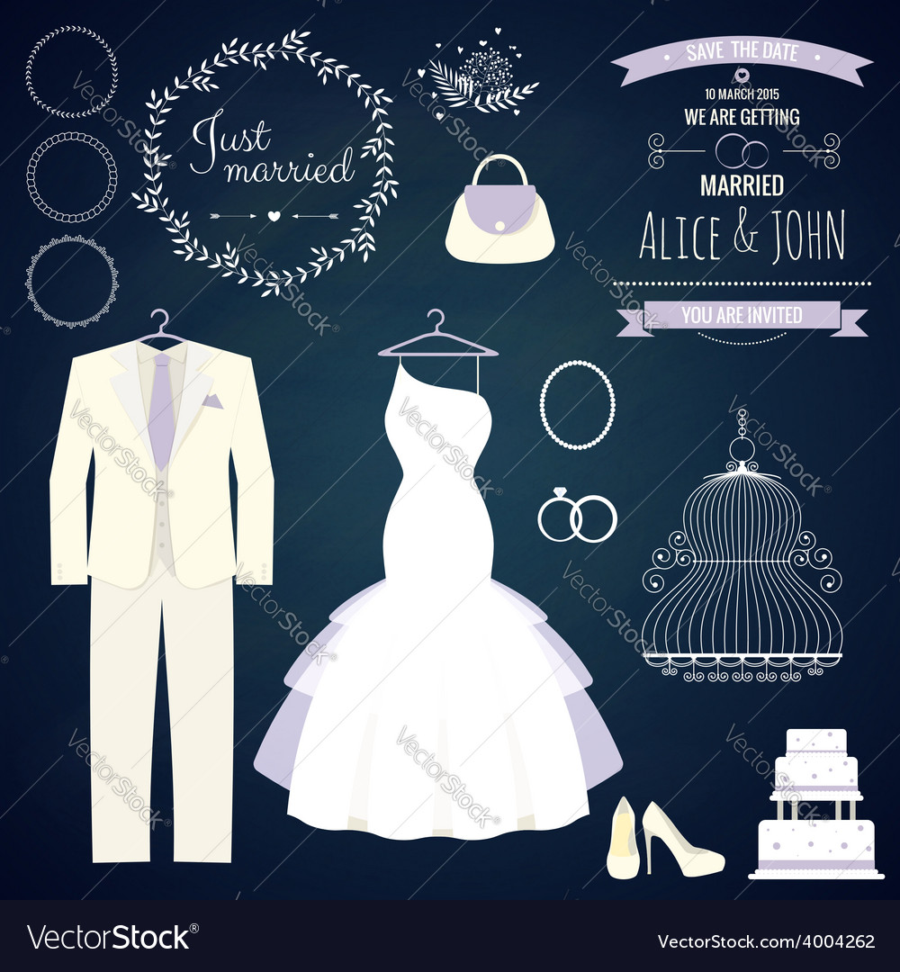 Wedding dresse and groom suit with different vector | Price: 1 Credit (USD $1)