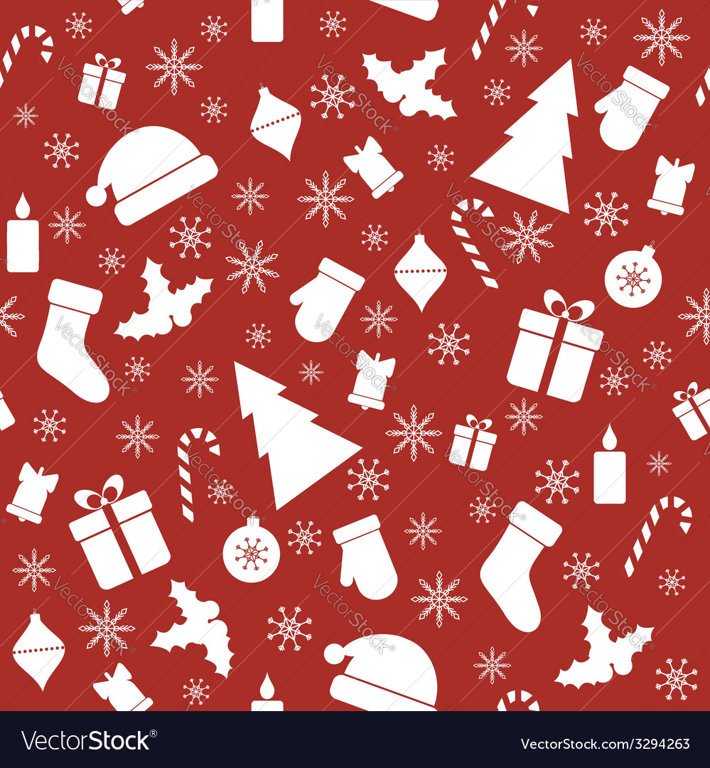 Christmas seamless red pattern vector | Price: 1 Credit (USD $1)