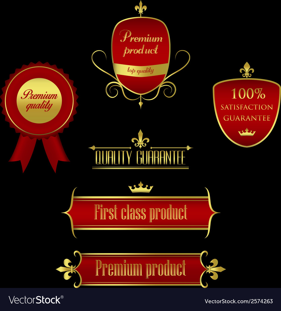 Collection of golden-red labels - product quality vector | Price: 1 Credit (USD $1)