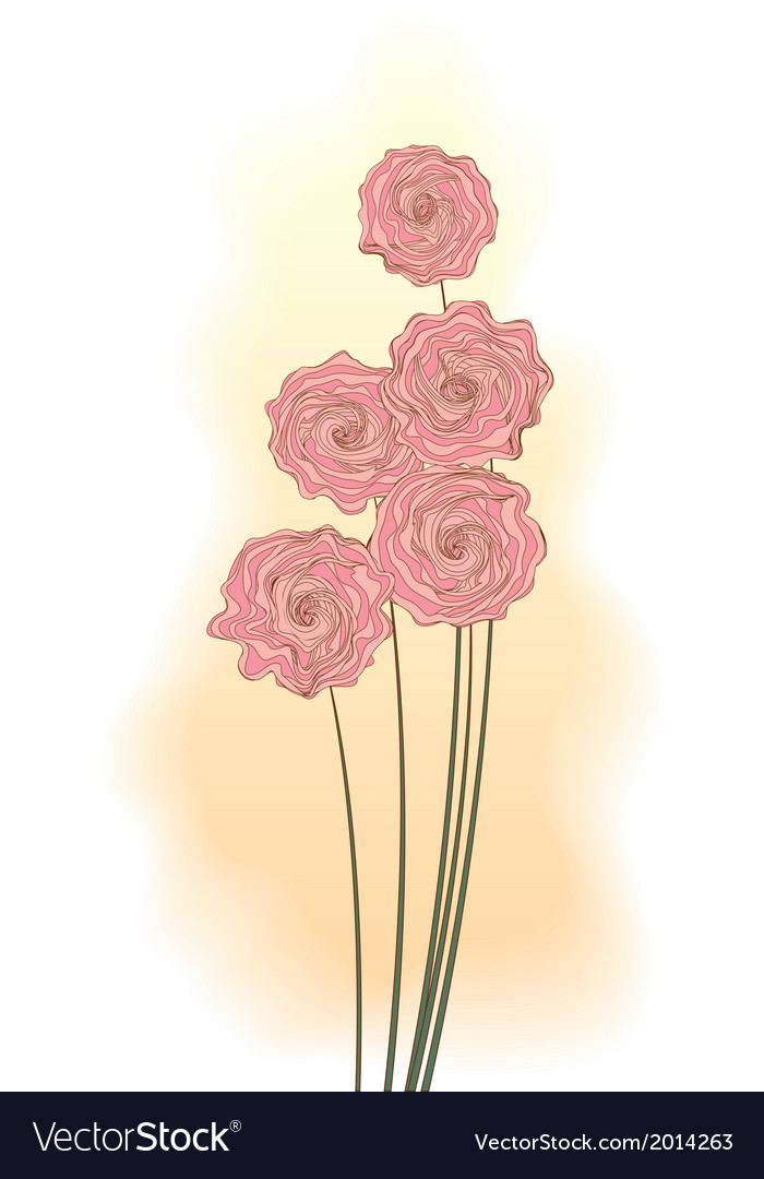 Decorative bouquet of pink roses vector | Price: 1 Credit (USD $1)