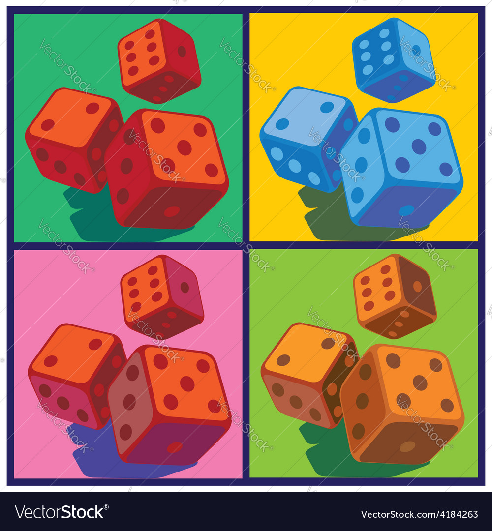 Dice in pop art style vector | Price: 1 Credit (USD $1)