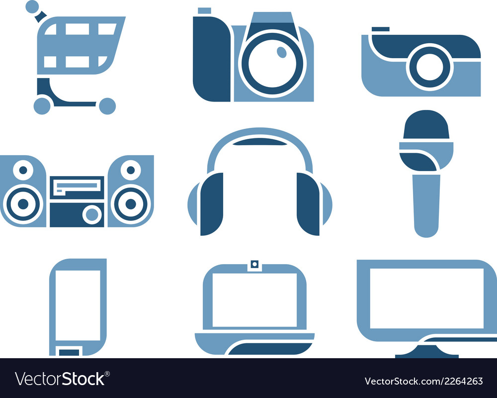 Electronics icons set vector | Price: 1 Credit (USD $1)