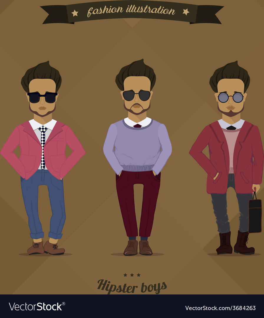 Hipster urban fashion trendy men boys colored vector | Price: 1 Credit (USD $1)
