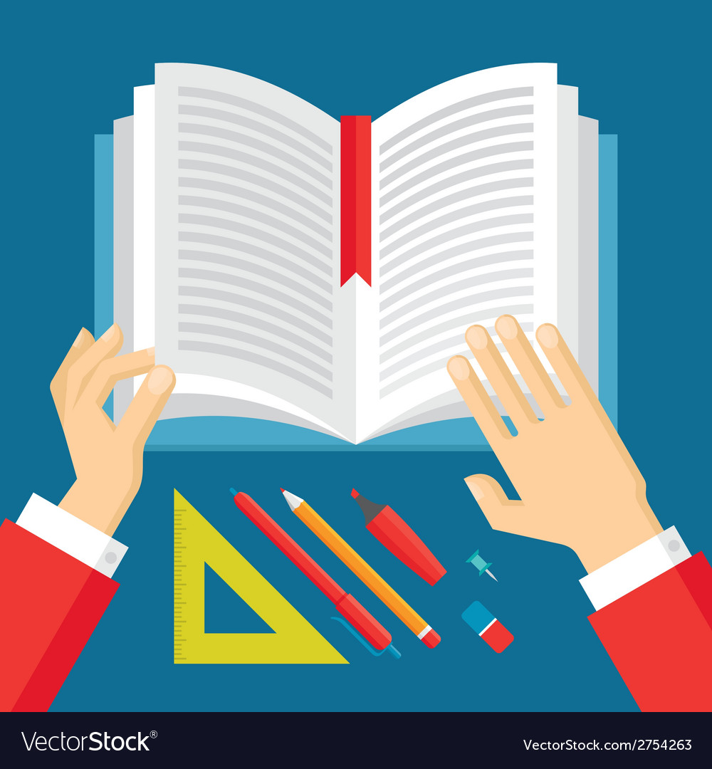 Human hands and book - education concept vector | Price: 1 Credit (USD $1)