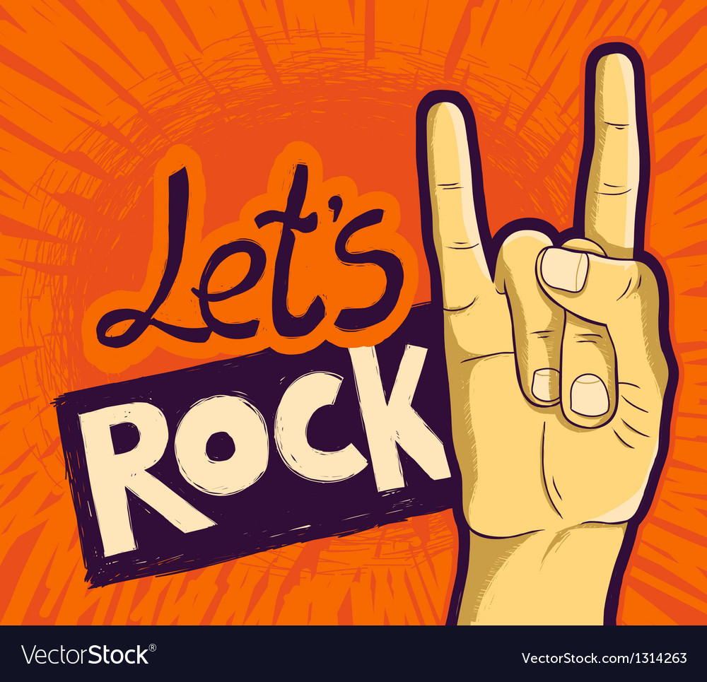 Lets rock poster - with hand and lettering vector   Price: 1 Credit (USD $1)