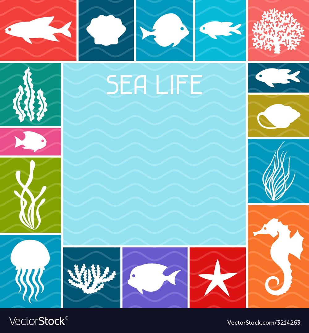 Marine life background design with sea animals vector | Price: 1 Credit (USD $1)
