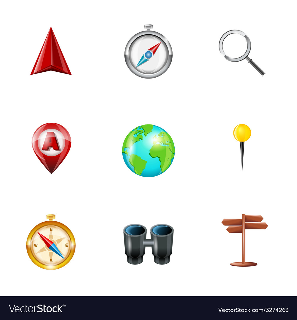 Navigation icons realistic set vector | Price: 1 Credit (USD $1)