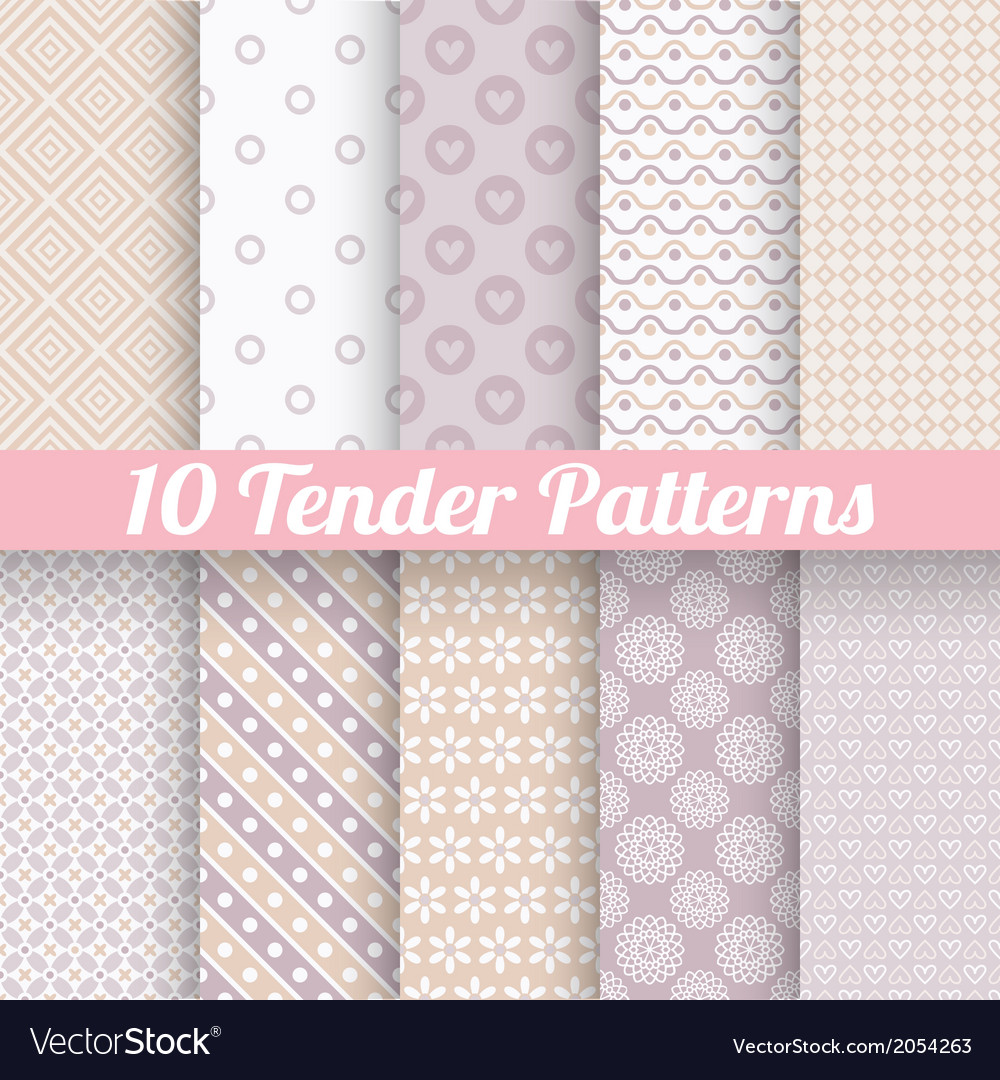 Pastel loving wedding seamless patterns tiling vector | Price: 1 Credit (USD $1)