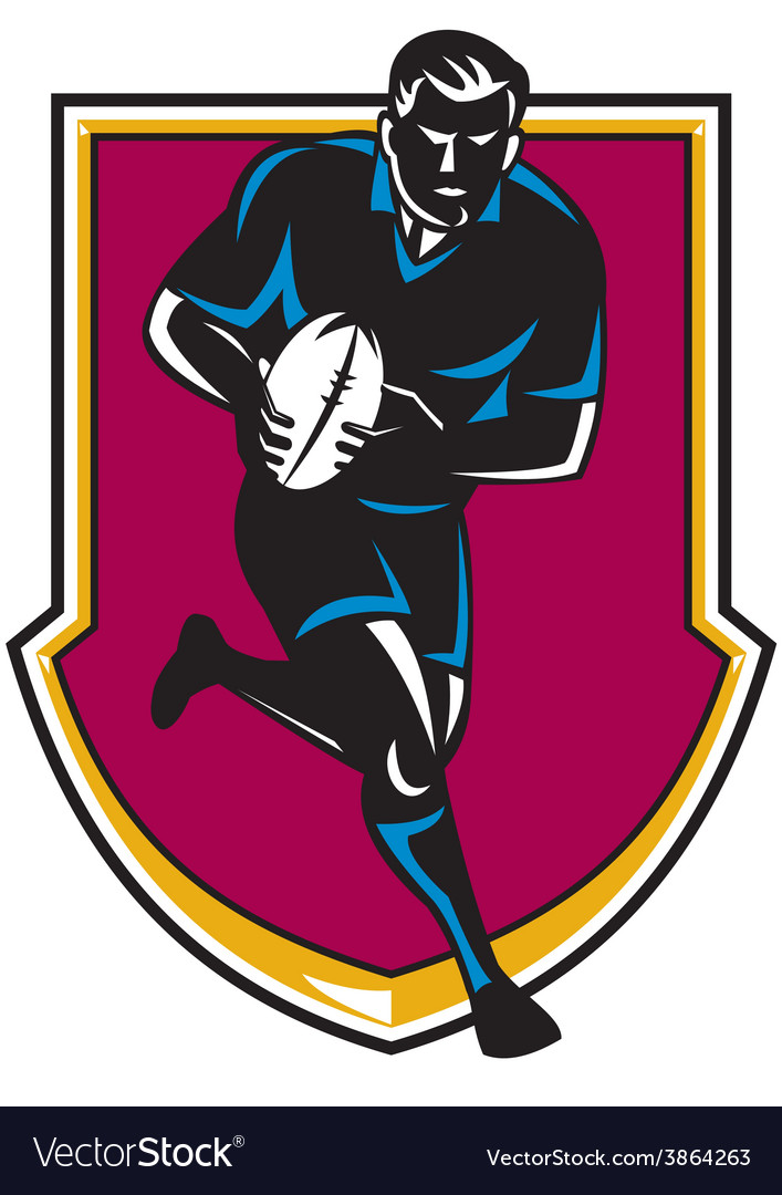 Rugby player running passing ball retro vector | Price: 1 Credit (USD $1)