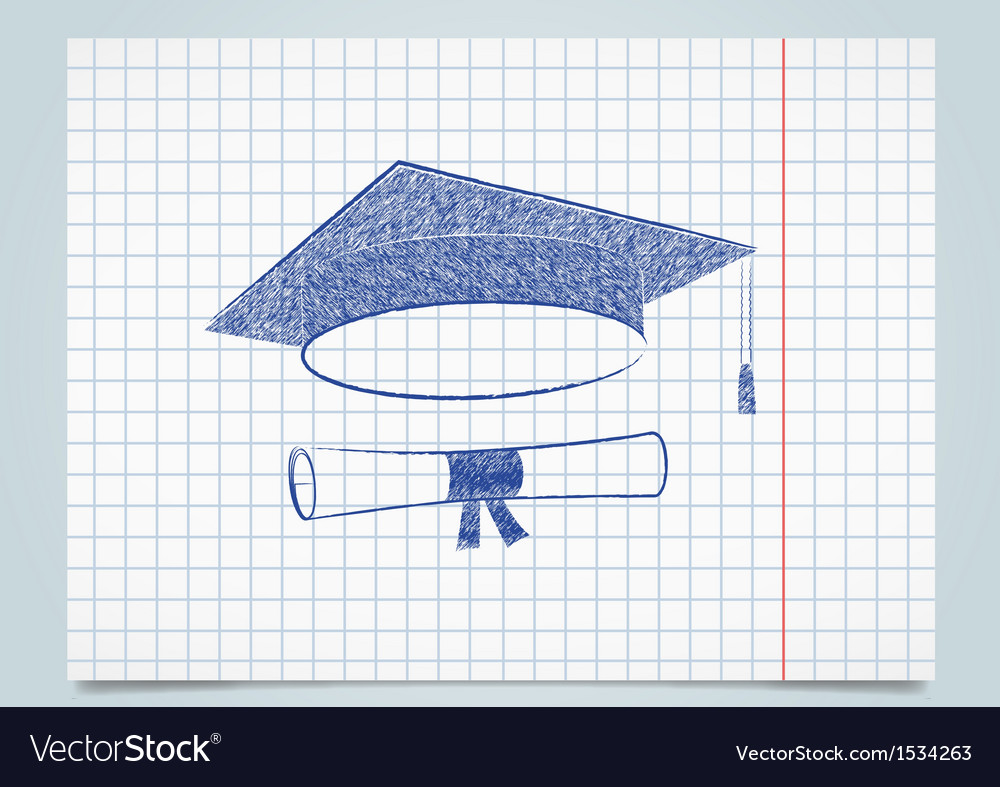 Scribble graduation cap and diploma vector | Price: 1 Credit (USD $1)
