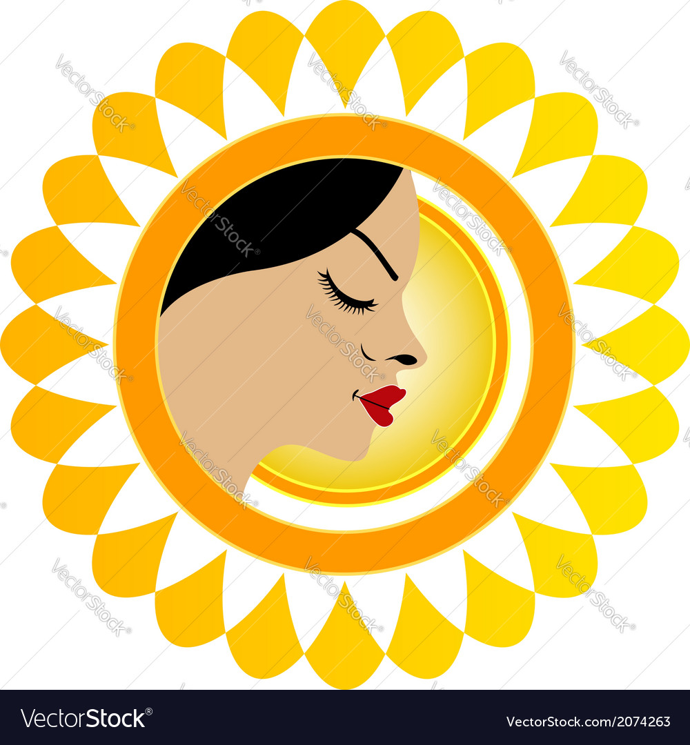Sun tan logo- a face with a bright yellow sun vector | Price: 1 Credit (USD $1)