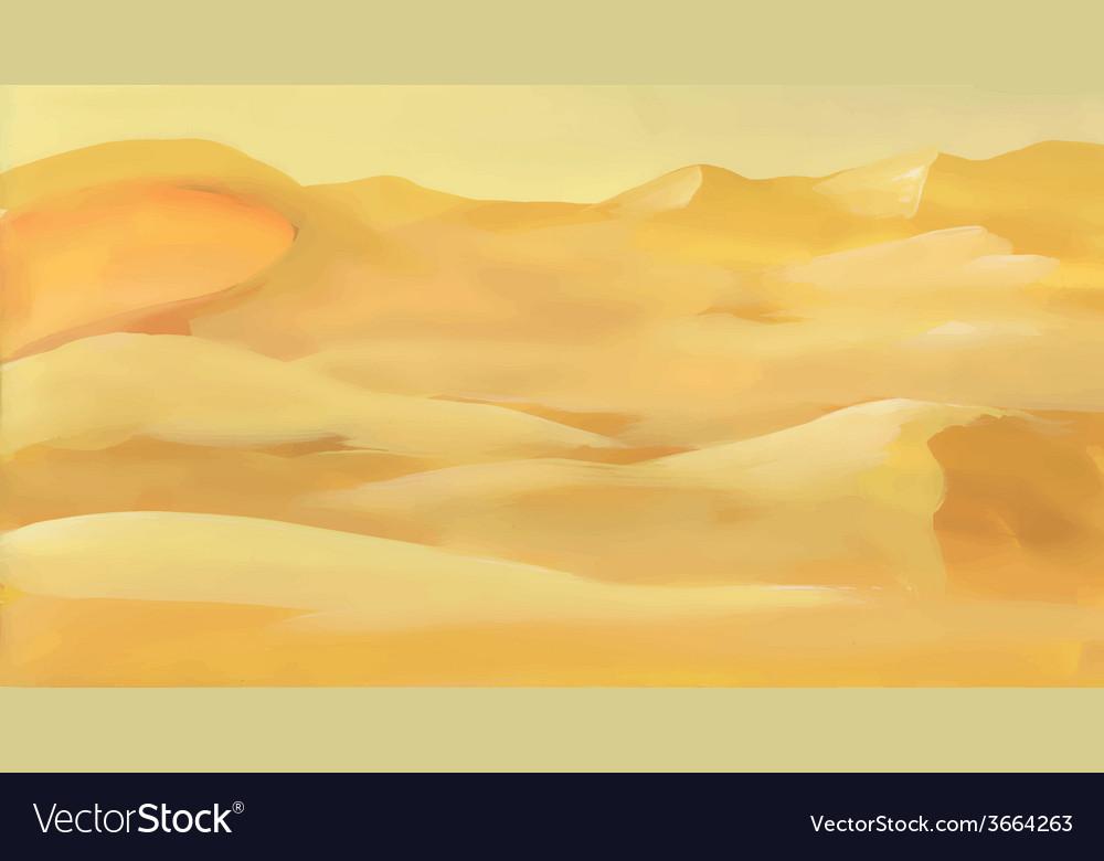 Watercolor desert sand landscape vector | Price: 1 Credit (USD $1)