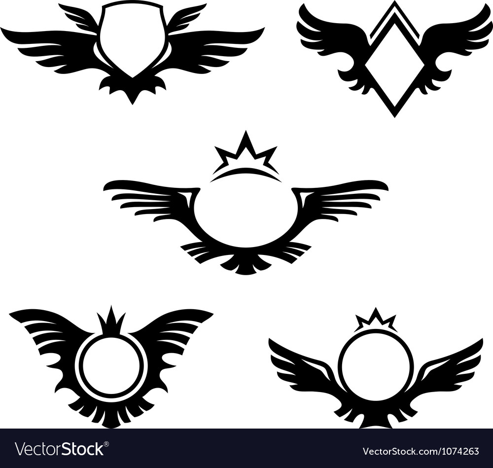 Wings shaped emblems vector | Price: 1 Credit (USD $1)
