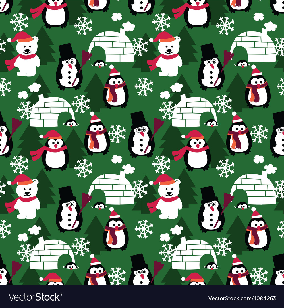 Winter fun seamless background vector | Price: 1 Credit (USD $1)