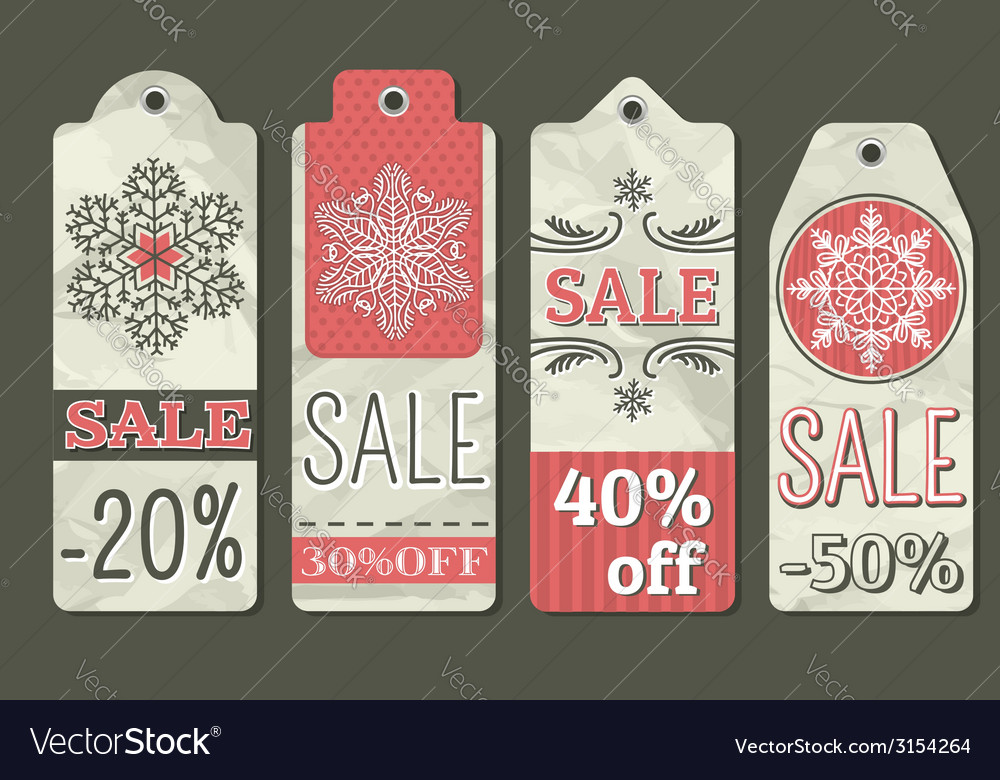 Crumple christmas labels with sale offer vector | Price: 1 Credit (USD $1)