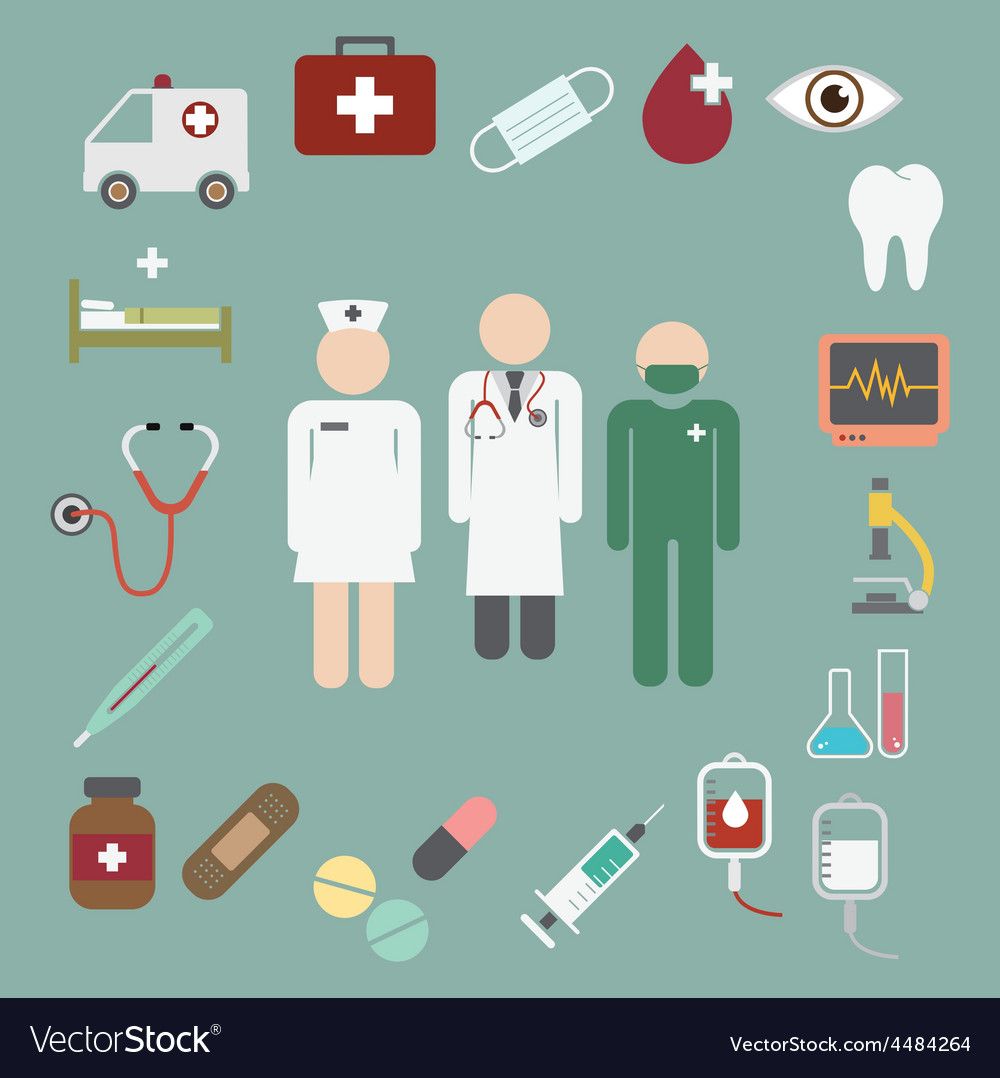 Doctor and nurse team with medical and healthcare vector | Price: 1 Credit (USD $1)