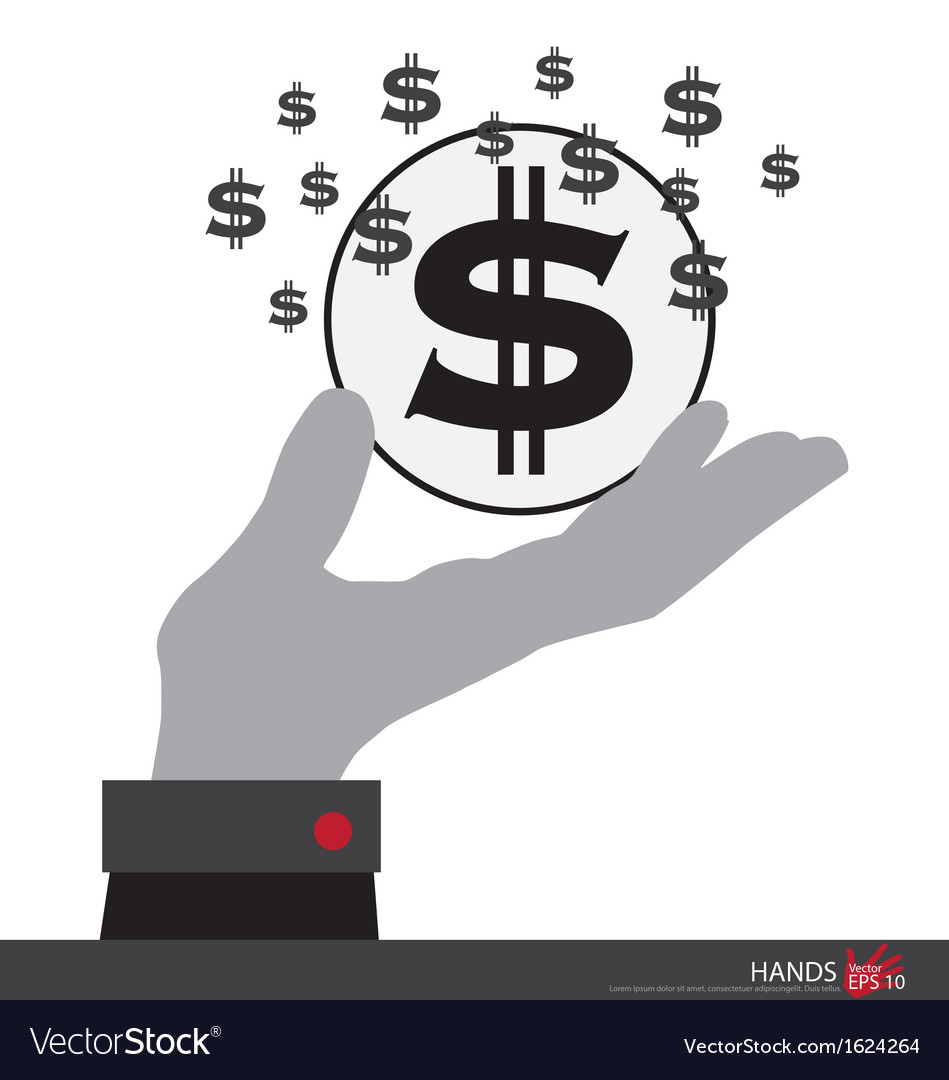Dollar sign in hand vector | Price: 1 Credit (USD $1)