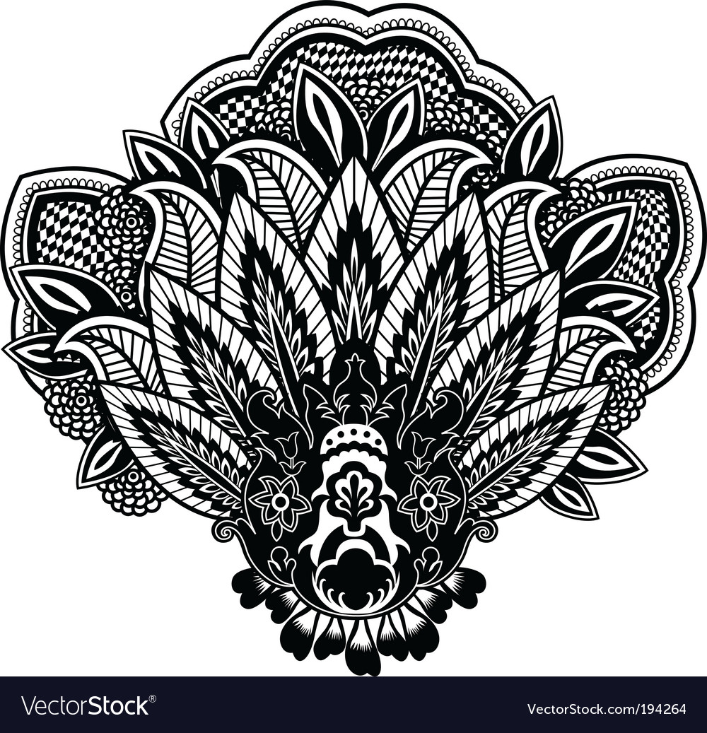 Flower paisley vector | Price: 1 Credit (USD $1)