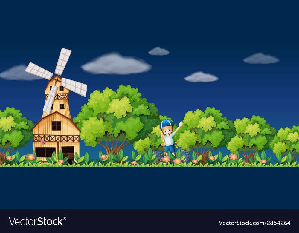 Girl and windmill vector | Price: 3 Credit (USD $3)