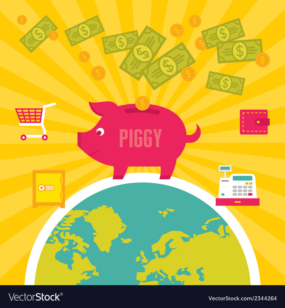 Moneybox piggy in flat design style vector | Price: 1 Credit (USD $1)
