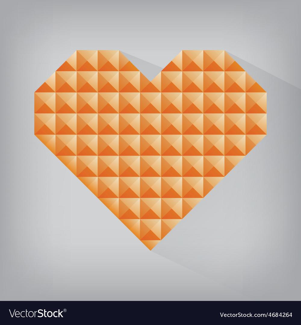 Orange retro heart triangle abstract love vector | Price: 1 Credit (USD $1)