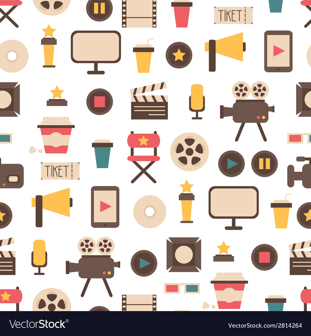 Seamless pattern of flat colorful movie design vector | Price: 1 Credit (USD $1)