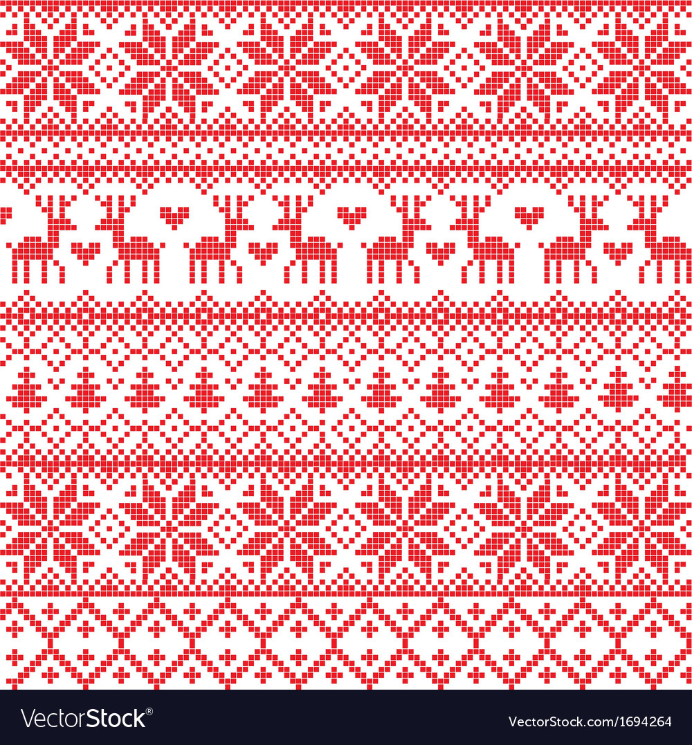 Traditional red nordic pattern vector | Price: 1 Credit (USD $1)