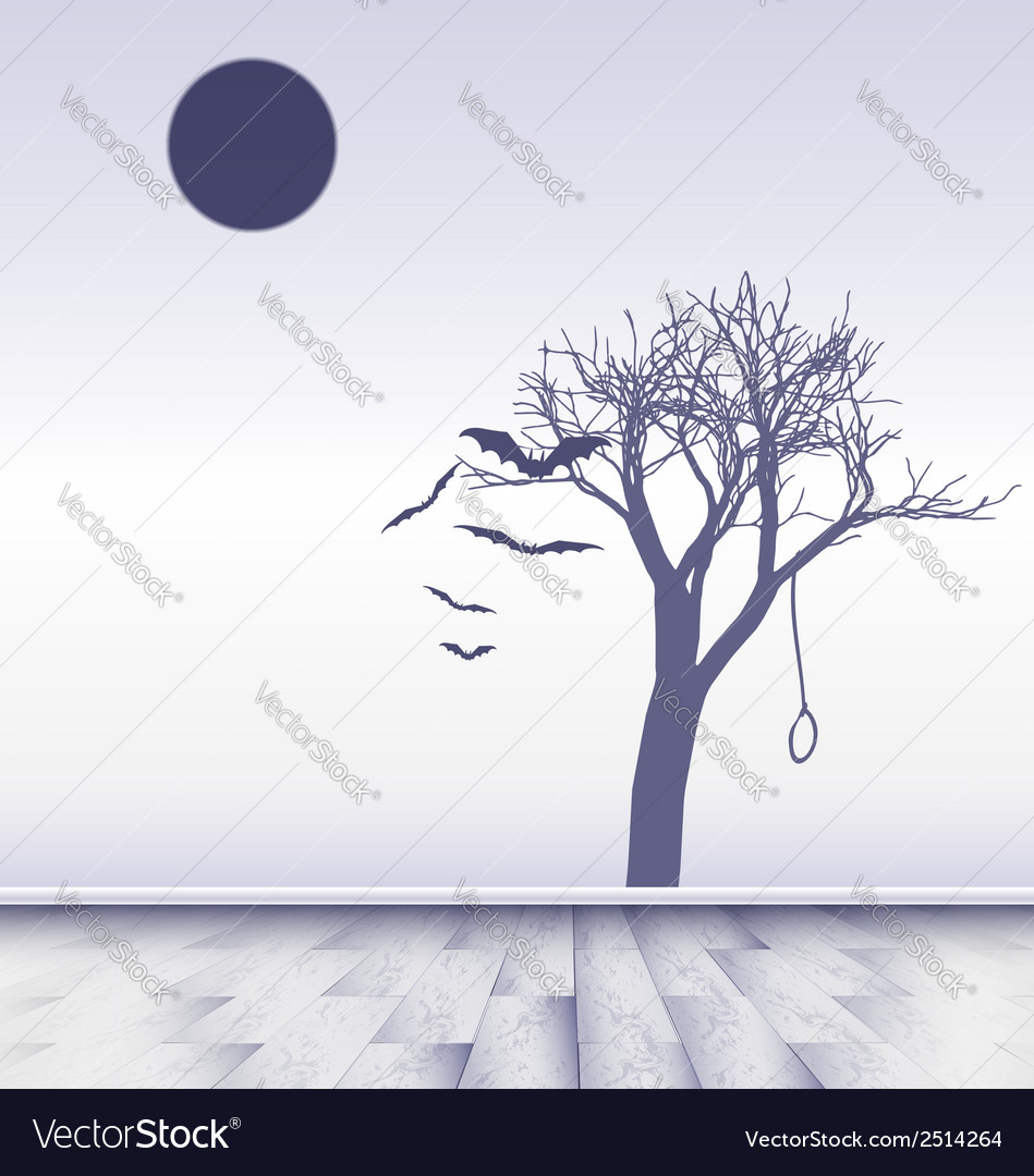 White room with image of sad moon vector | Price: 1 Credit (USD $1)